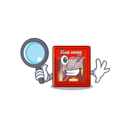 Detective fire hose cabinet isolated with character Ilustrace