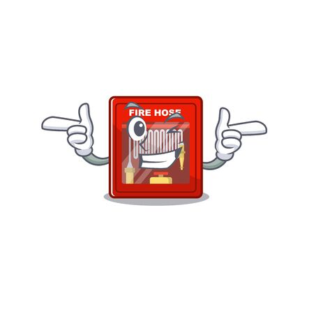 Wink fire hose cabinet isolated with character vector illustration Illustration