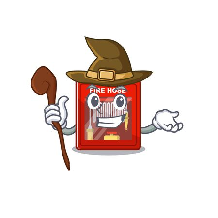Witch fire hose cabinet with cartoon shape vector illustration