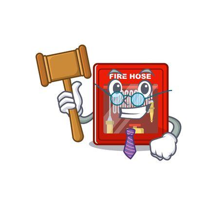 Judge fire hose cabinet on the cartoon vector illustration Stock Illustratie