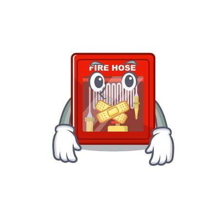 Silent fire hose cabinet on the cartoon vector illustration