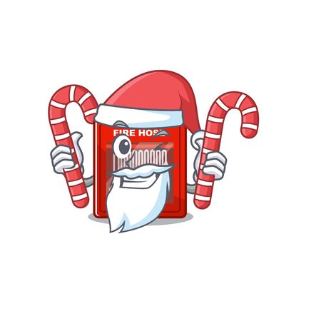 Santa with candy fire hose cabinet on the cartoon vector illustration