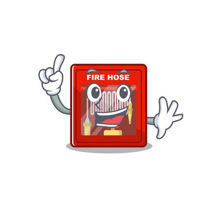 Finger fire hose cabinet on the cartoon vector illustration Ilustrace
