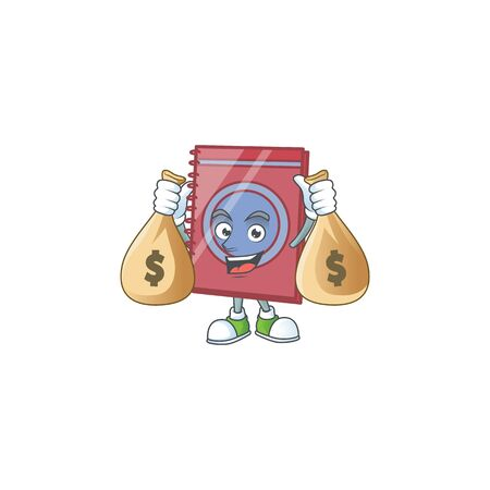 With money bag red closed book with character mascot