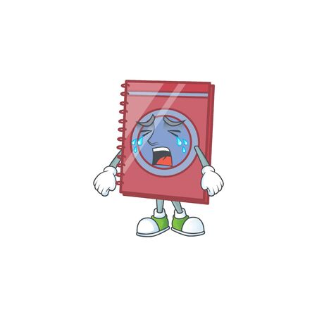 Crying closed book in the cartoon character