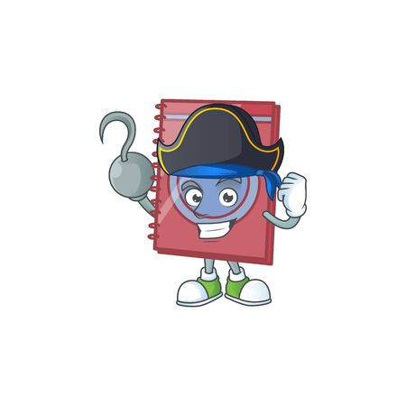 Pirate red closed book with character mascot Çizim