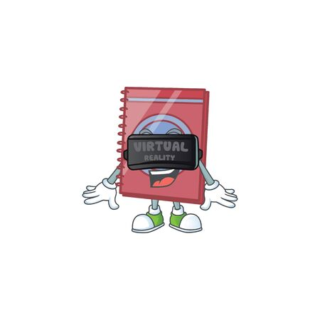 Virtual reality closed book in the cartoon character