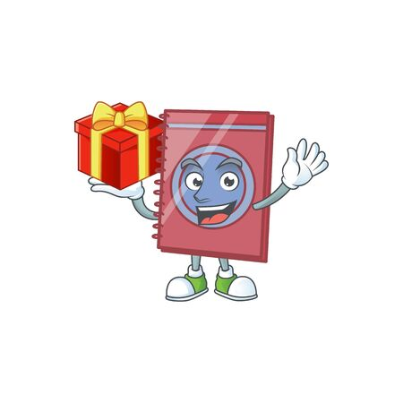 Bring gift closed book isolated on white background. Illustration