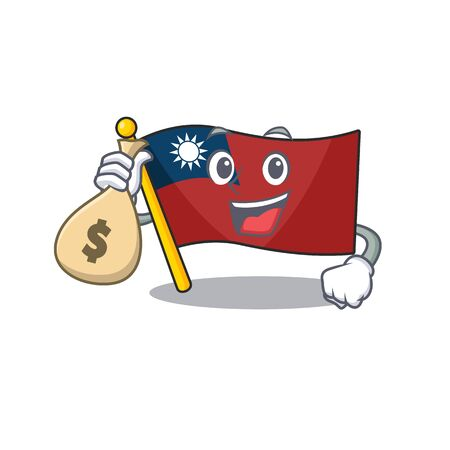 With money bag flag taiwan character shape with mascot vector illustration Çizim