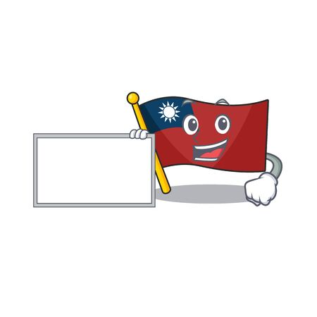 With board flag taiwan character shape with mascot vector illustration Çizim