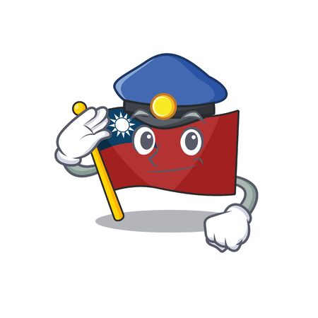 Police flag taiwan character shape with mascot vector illustration