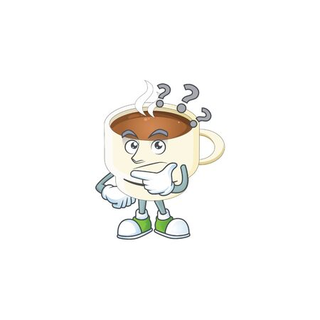 Thinking cup coffee the character with mascot