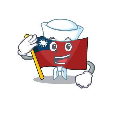 Sailor flag taiwan character shape with mascot vector illustration
