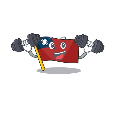 Fitness flag taiwan character shape with mascot vector illustration Çizim