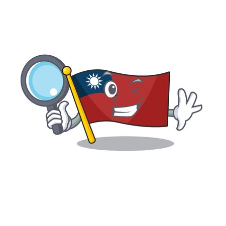 Detective flag taiwan hoisted in character pole vector illustration