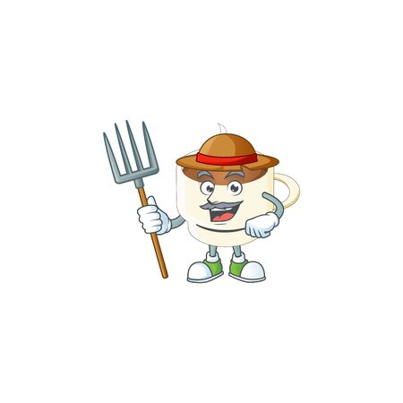 Farmer a cup coffee in the morning vector illustration