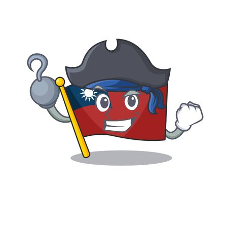 Pirate flag taiwan character shape with mascot vector illustration