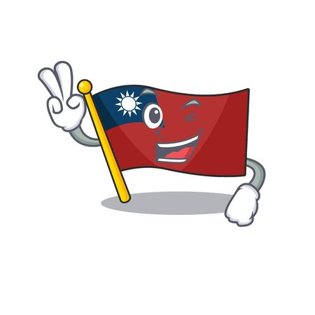 Two finger flag taiwan hoisted in character pole vector illustration