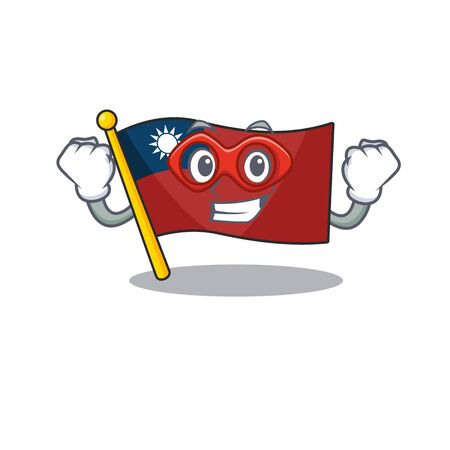 Super hero flag taiwan hoisted in character pole vector illustration Çizim
