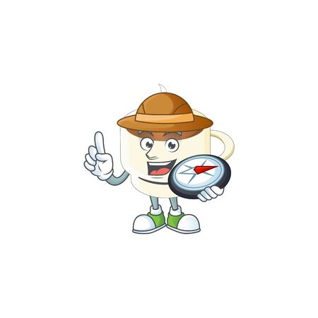 Explorer cup coffee the character with mascot vector illustration 일러스트