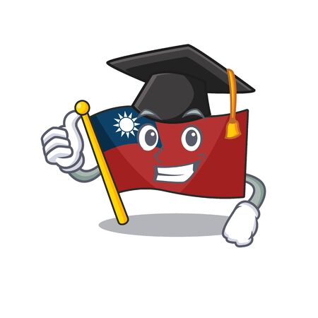 Graduation flag taiwan hoisted in character pole vector illustration