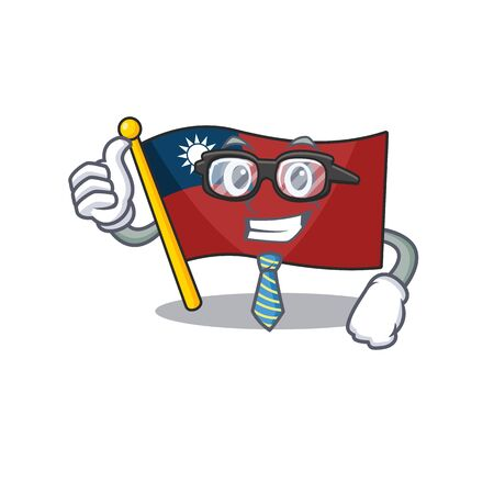 Businessman flag taiwan hoisted in character pole vector illustration