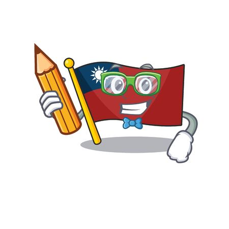Student flag taiwan hoisted in character pole Illustration
