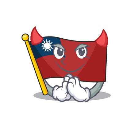 Devil flag taiwan mascot isolated the cartoon
