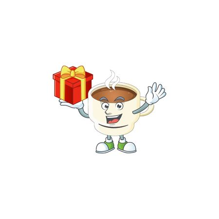 Bring gift cup coffee cartoon on white background. vector illustration