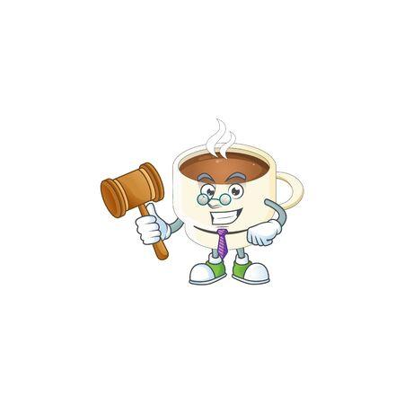 Judge cup coffee cartoon on white background. vector illustration Ilustração