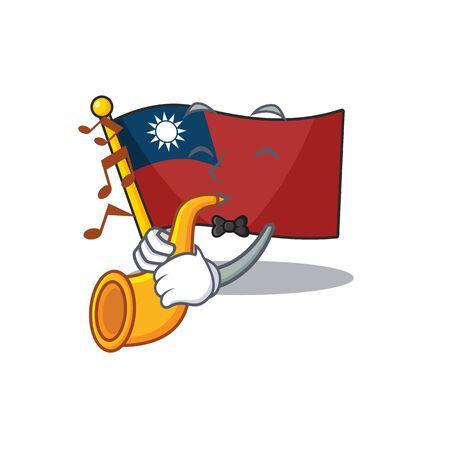 With trumpet flag taiwan mascot isolated the cartoon Ilustração