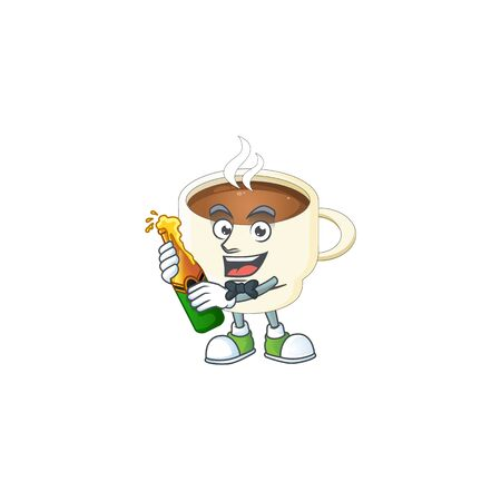 With beer cup coffee cartoon on white background.