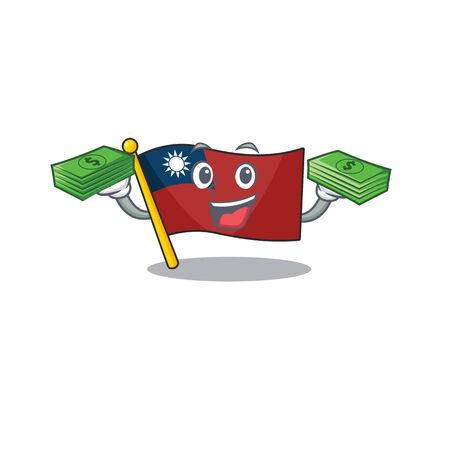 With money bag flag taiwan mascot isolated the cartoon