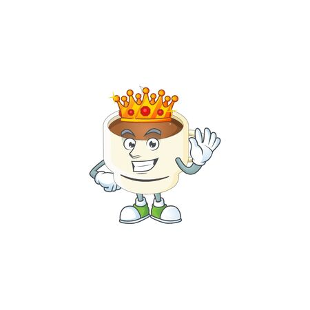 King cup coffee cartoon on white background. vector illustration Stock Illustratie