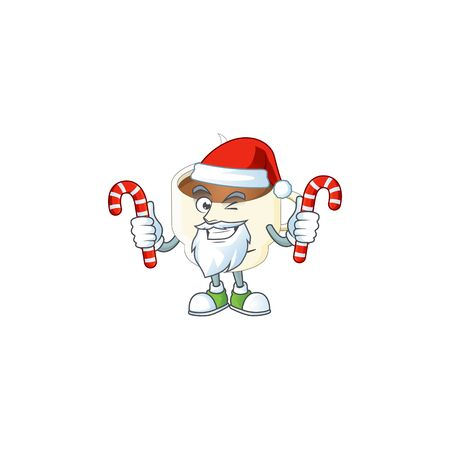 Santa with candy cup coffee cartoon on white background. vector illustration