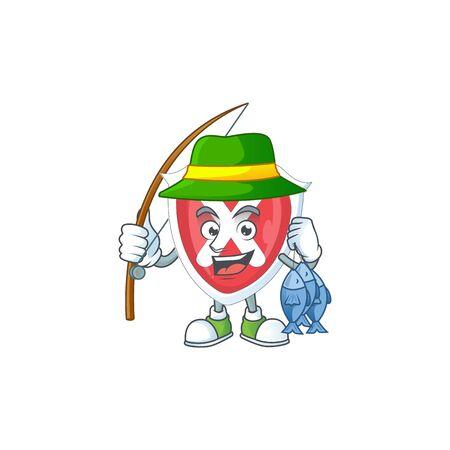 Fishing cross shield in the cartoon character