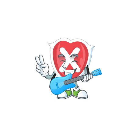 With guitar cross shield in the cartoon character
