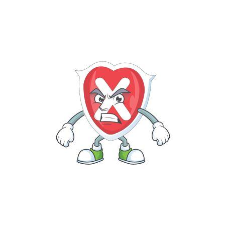 Schreien Sie Kreuzschildkarikatur für Emblem verweigert.