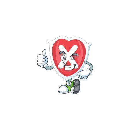 Thumbs up cross shield cartoon for emblem denied.