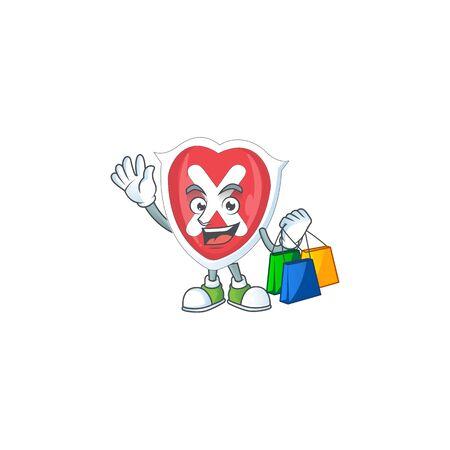 Shopping cross shield cartoon for emblem denied.