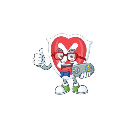 Gamer cross shield in the cartoon character
