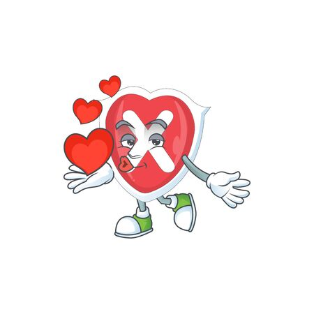 With heart cross shield in the cartoon character