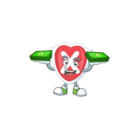 With money bag cross shield in the cartoon character