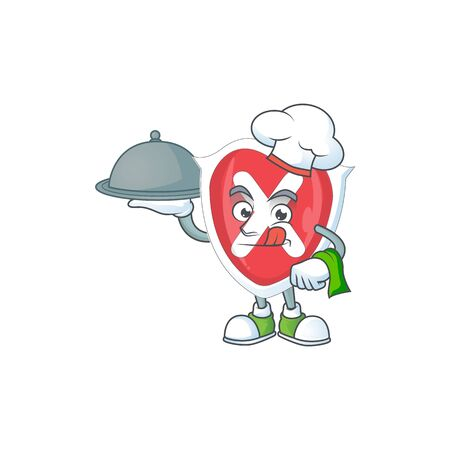Chef with food cross shield in the cartoon character 向量圖像