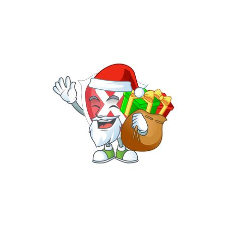 Santa with gift cross shield character on white background.