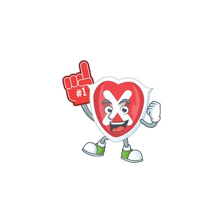Foam finger cross shield character on white background.
