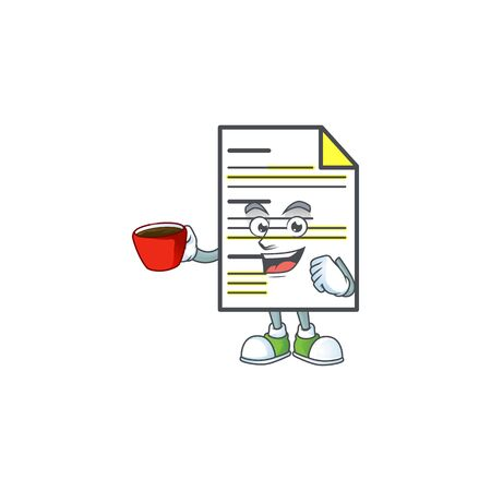 Drinking in cup document in the cartoon character mascot. vector illustration