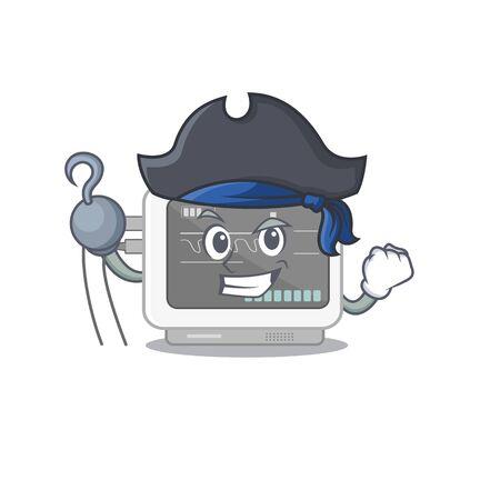 Pirate ecg machine cartoon with the character