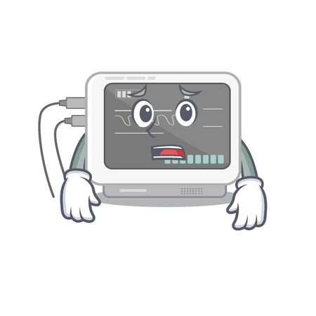 Afraid ecg machine isolated in the character Illustration