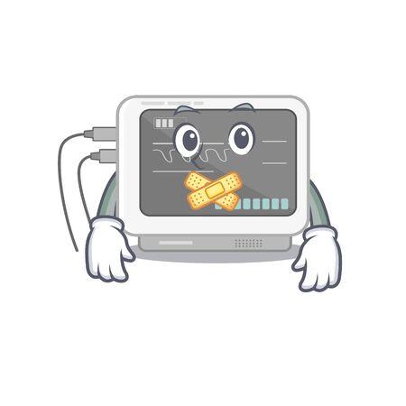 Silent ecg machine in the mascot shape